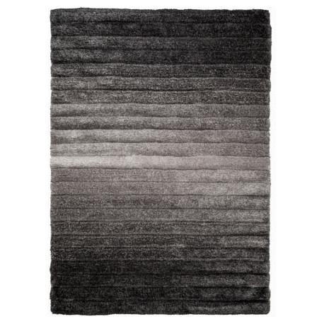 Tapis gris shaggy design rayé pour salon Ombre