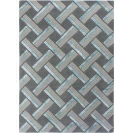 Tapis gris moderne en laine géométrique Parquet