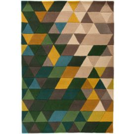 Tapis scandinave en laine géométrique multicolore Prism