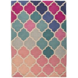 Tapis baroque rose rectangle à courtes mèches Rosella
