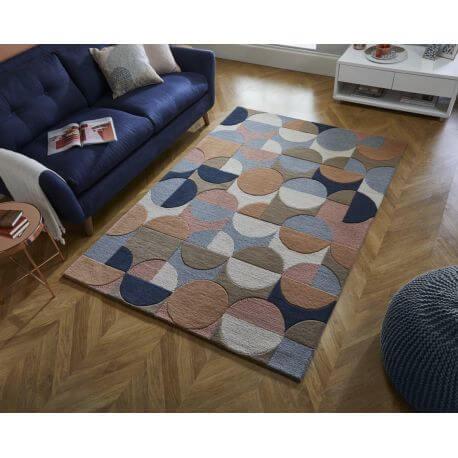 Tapis géométrique en laine design rectangle Gigi