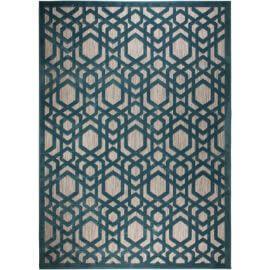 Tapis bleu géométrique pour salon design Oro