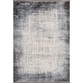 Tapis rayé argenté avec franges vintage rectangle Elysee