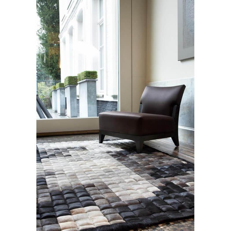 tapis en cuir noir et blanc jam craft 07 par papilio. Black Bedroom Furniture Sets. Home Design Ideas