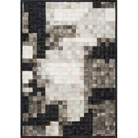 Tapis en cuir noir et blanc Jam Craft 07 par Papilio