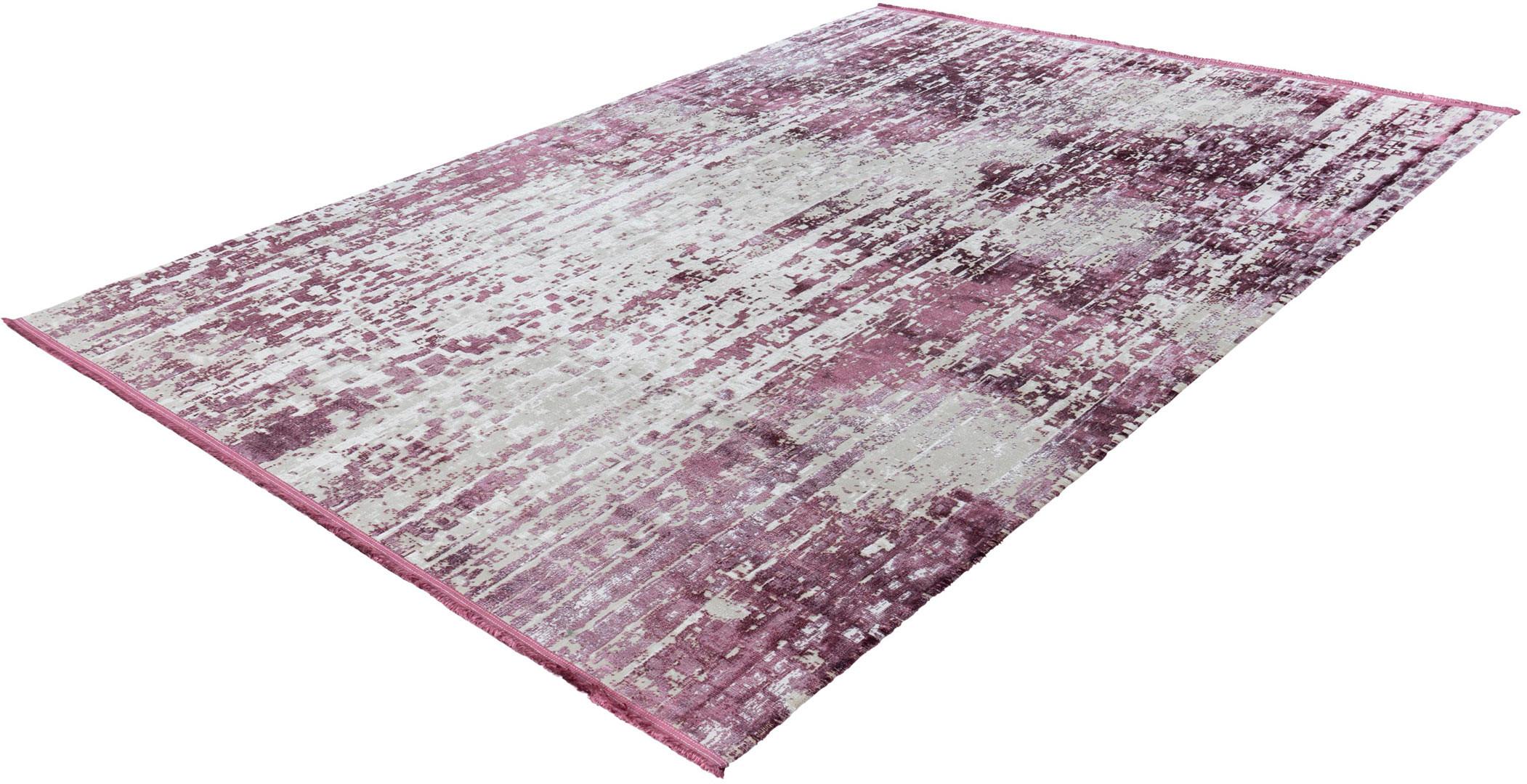 Tapis avec franges violet vintage pour salon rayé Elysee