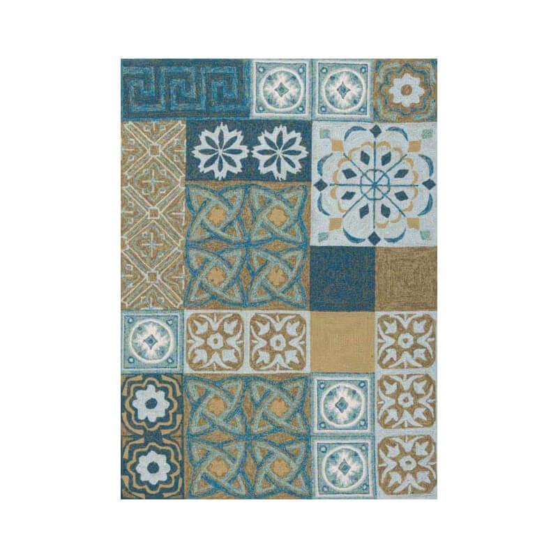 Tapis d 39 ext rieur bleu motifs namada par papilio for Tapis exterieur bleu