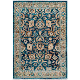 Tapis rayé bleu pour salon vintage rectangle Norfolk