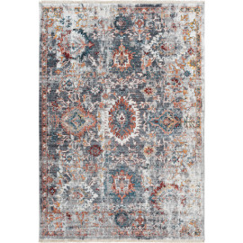 Tapis multicolore rectangle vintage avec franges rayé Glendale