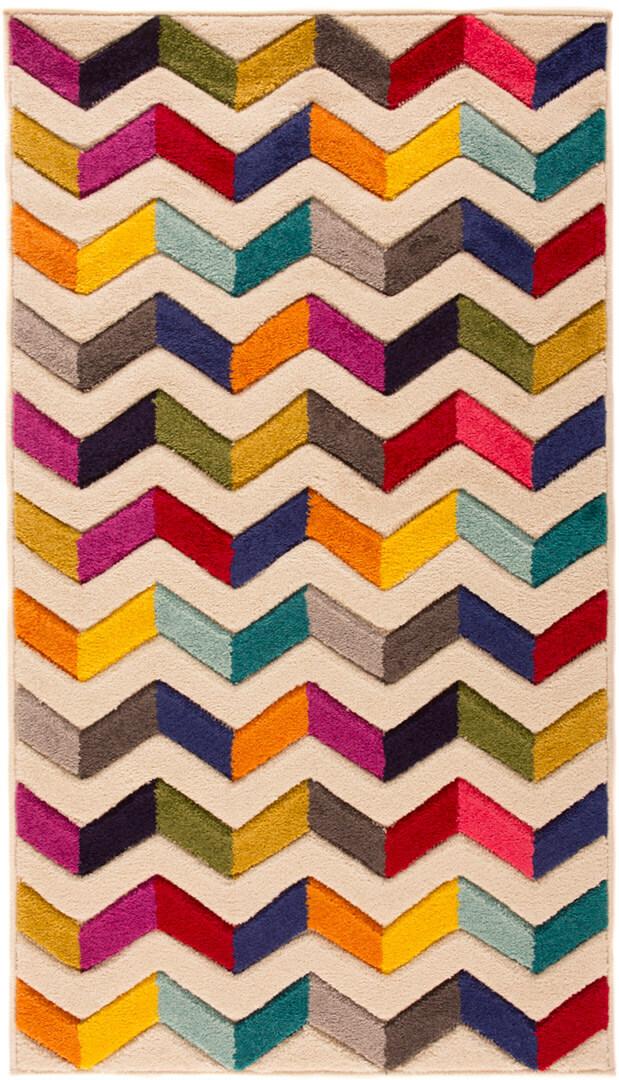 Tapis design multicolore rectangle graphique Bolero