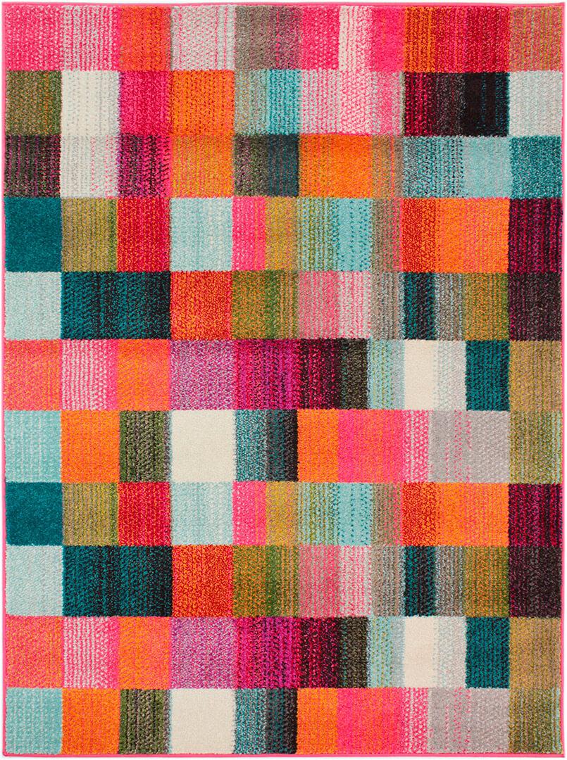 Tapis rectangle multicolore pour salon design Square