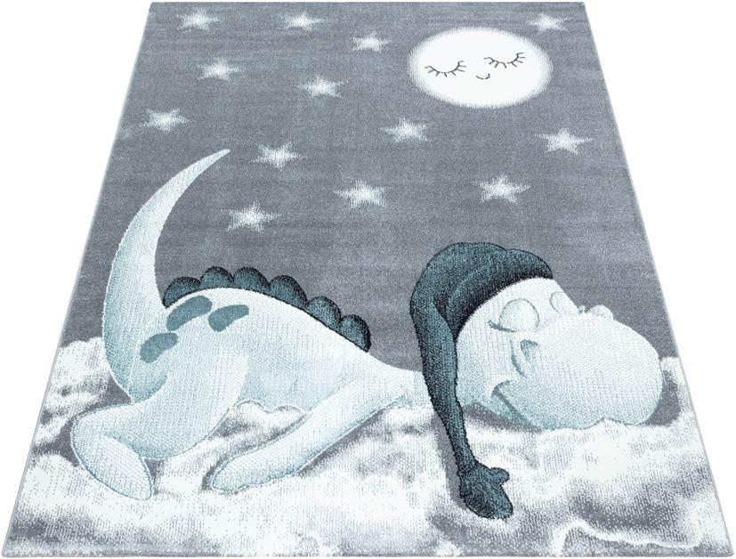 Tapis bleu pour chambre d'enfant rectangle Dino