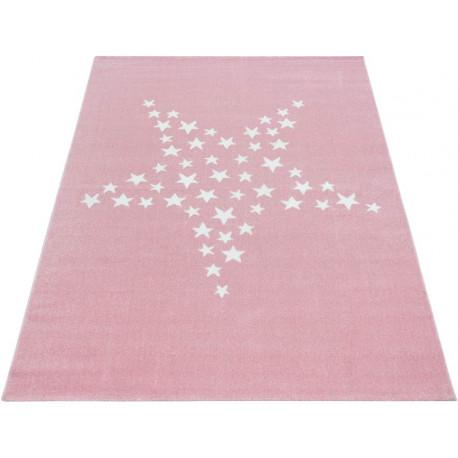 Tapis doux rose pour enfant rectangle Stars