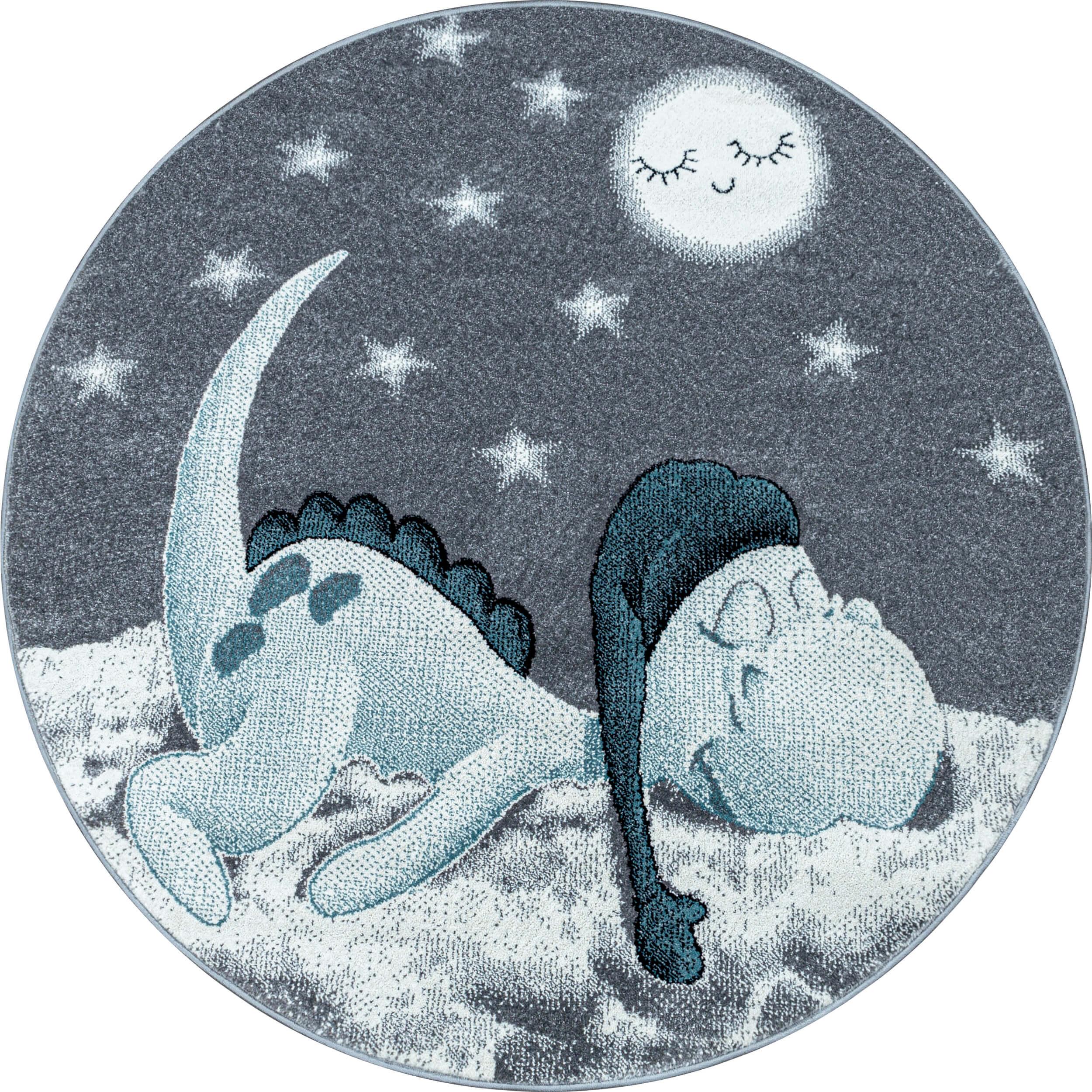 Tapis bleu pour chambre d'enfant rond Dino