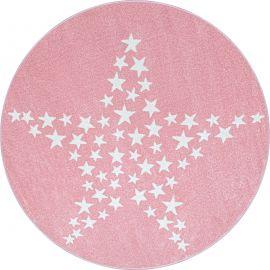 Tapis doux rose pour enfant rond Stars
