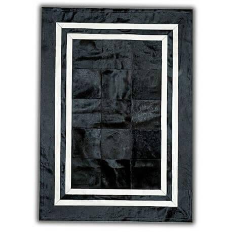 Tapis contemporain en peau de vache noir et blanc plat Conti