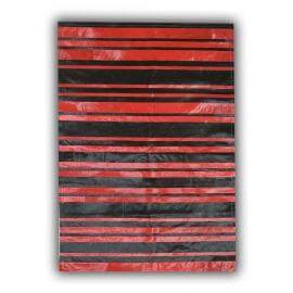 Tapis rayé noir et rouge moderne en peau de vache naturel Ricardo