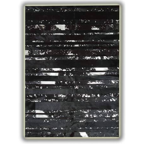 Tapis peau de vache naturel noir et argenté design Victor