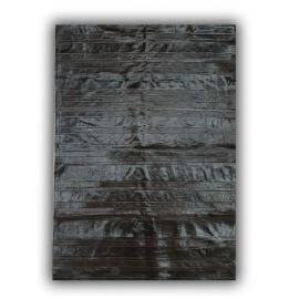 Tapis noir en peau de vache plat naturel intérieur Clara