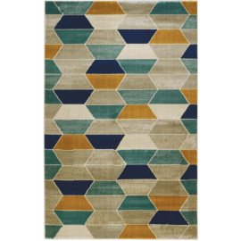 Tapis moderne multicolore rectangle à courtes mèches Sienne