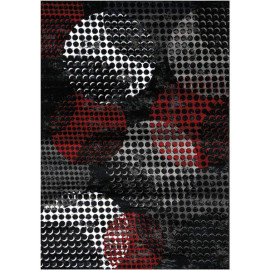 Tapis noir design rectangle à courtes mèches géométrique Bagheria