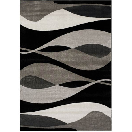 Tapis gris et noir courbe pour salon moderne rectangle Foligno