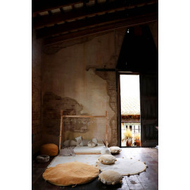Tapis avec franges en coton lavable en machine Hippy Dots Lorena Canals