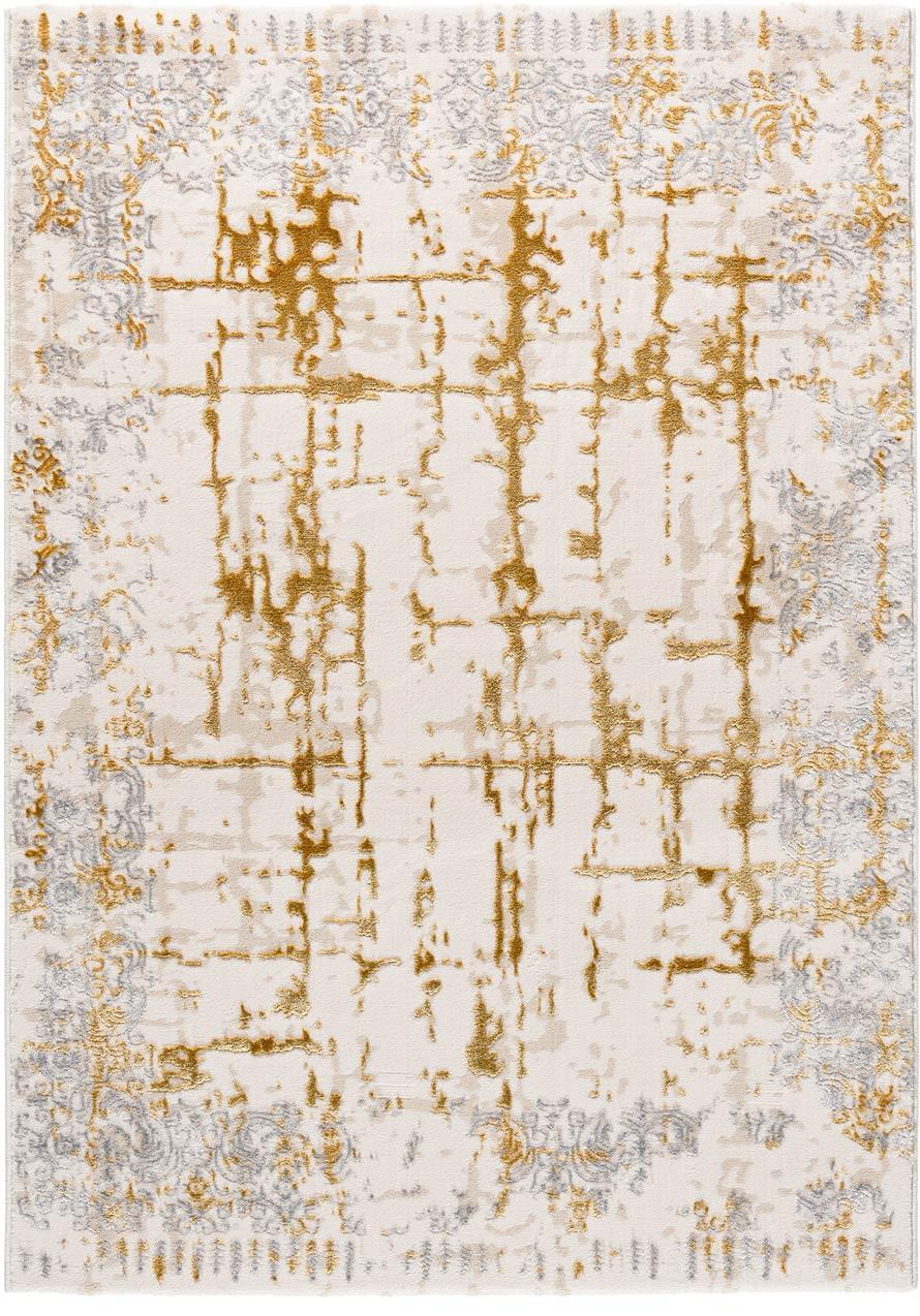 Tapis vintage beige rayé en polyester intérieur Bastogne