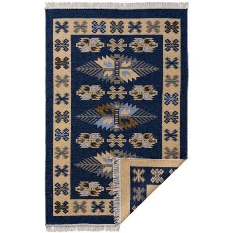 Tapis réversible plat kilim avec franges berbère Imlil