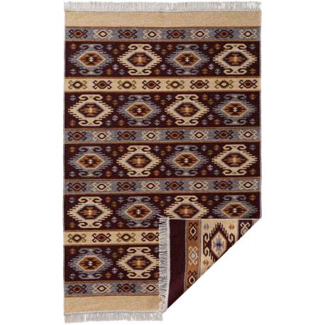 Tapis plat avec franges berbère réversible kilim Brahim