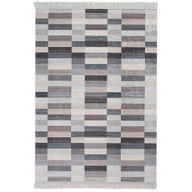 Tapis géométrique design lavable en machine beige Grammont
