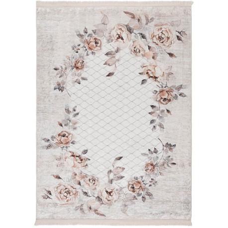 Tapis floral baroque taupe lavable en machine avec franges Herve