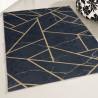 Tapis scandinave noir lavable en machine plat graphique Malines