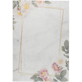 Tapis lavable en machine floral plat contemporain Malmedy