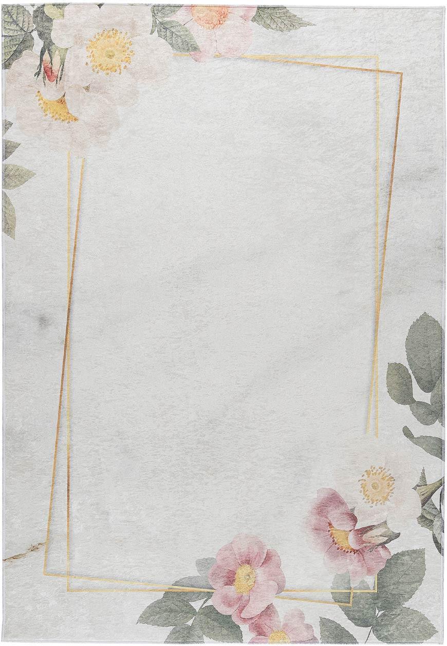 Tapis lavable en machine floral plat contemporain Malmedy