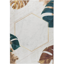Tapis beige lavable en machine floral plat contemporain Menin