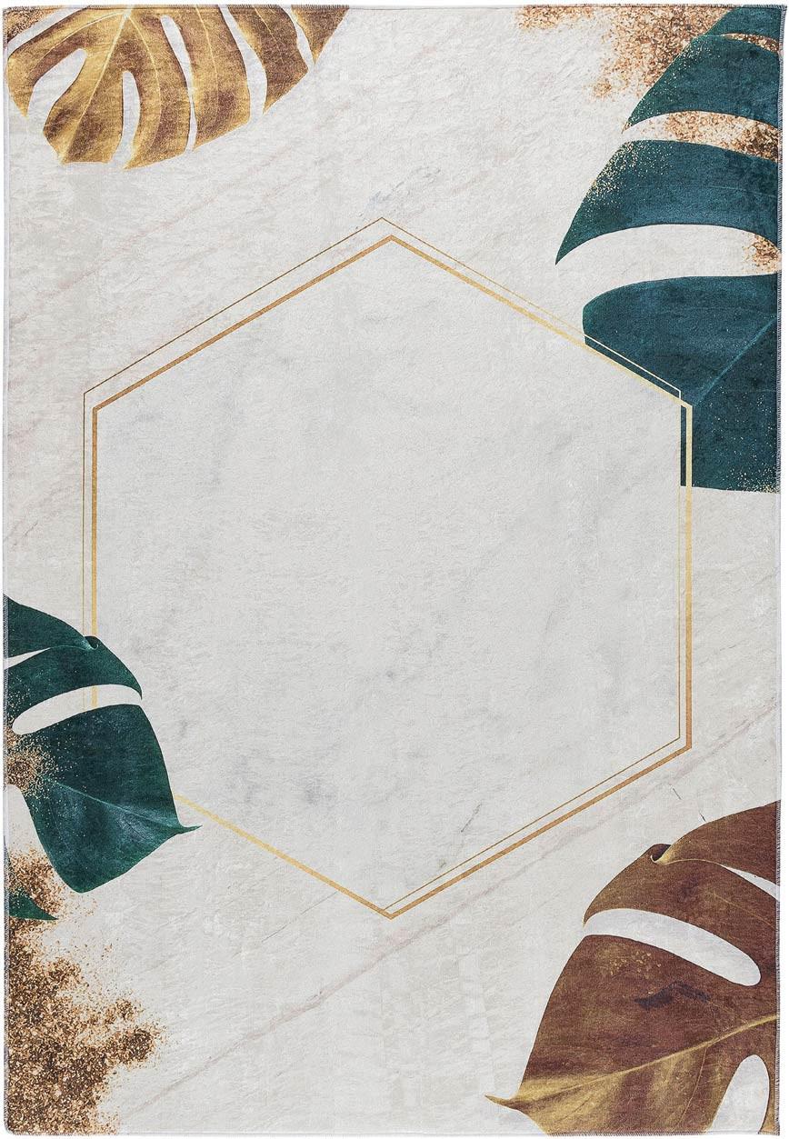 Tapis beige lavable en machine floral plat contemporain Menin
