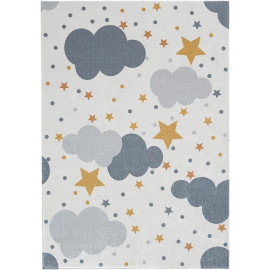 Tapis enfant crème lavable en machine rectangle Cloudy