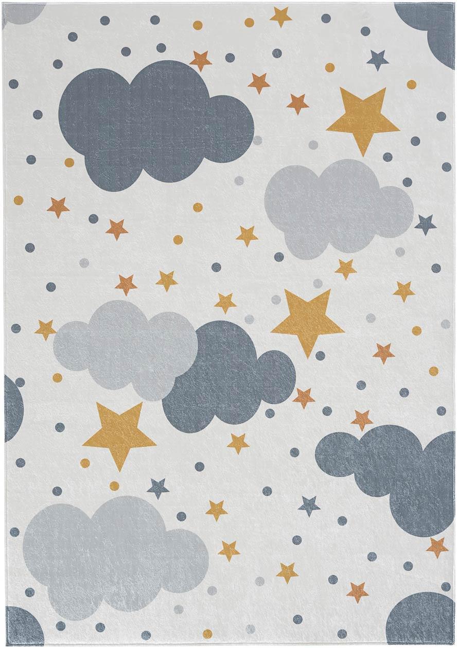 Tapis enfant crème lavable en machine rectangle Cloudy
