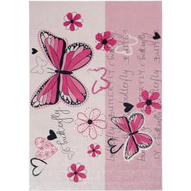 Tapis rose lavable en machine pour chambre de fille plat Papillon