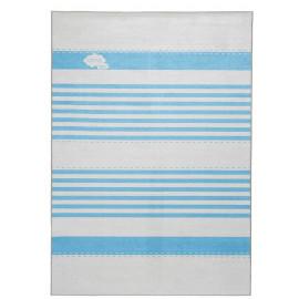 Tapis de chambre enfant bleu lavable en machine plat Lines