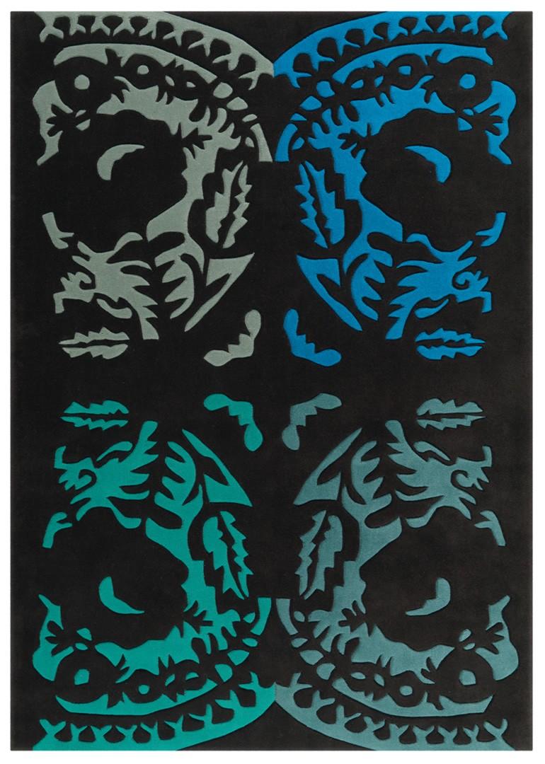 Tapis d'entrée noir Modern Folk Arte Espina