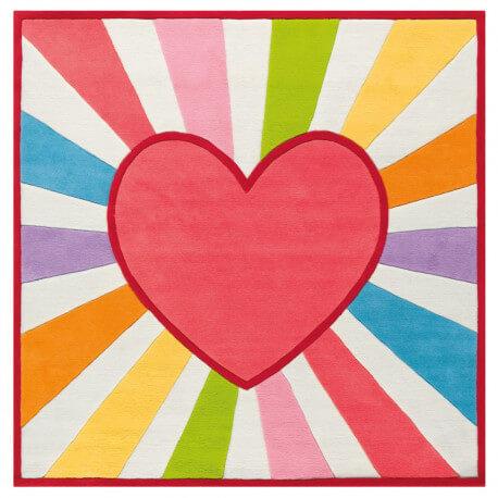Tapis carré de chambre enfant Love'n Peace Arte Espina