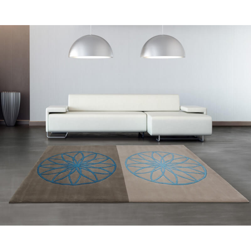 tapis bleu et gris revival arte espina. Black Bedroom Furniture Sets. Home Design Ideas
