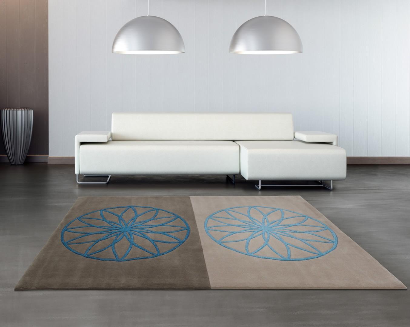 tapis bleu et gris revival arte espina. Black Bedroom Furniture Sets. Home Design Ideas