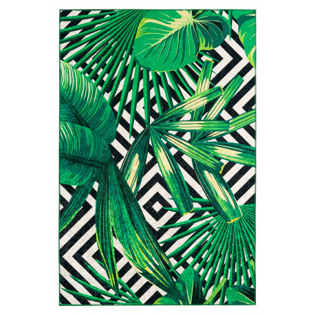 Tapis moderne multicolore rectangle en polyester floral Nash