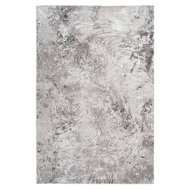 Tapis moderne rectangle rayé en polyester taupe Virginia