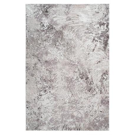 Tapis moderne rectangle rayé en polyester taupe Virginia