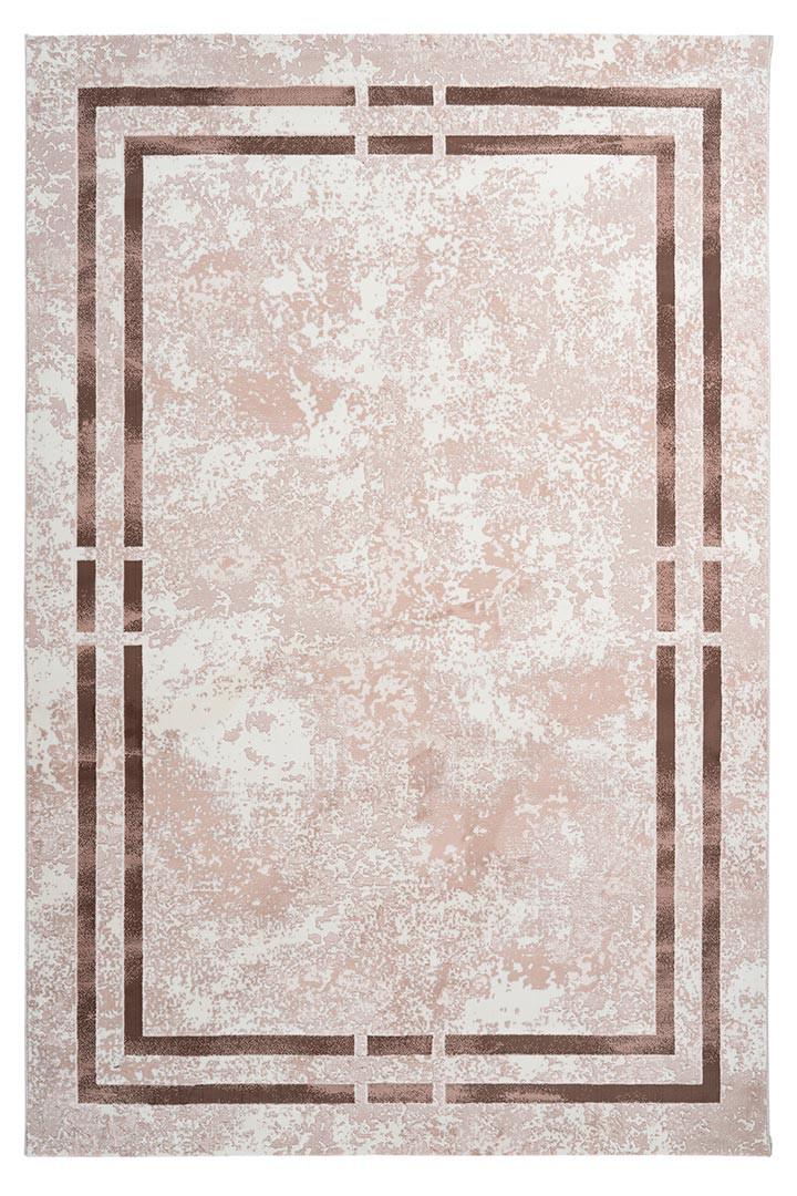 Tapis contemporain beige à courtes mèches rectangle Orellana