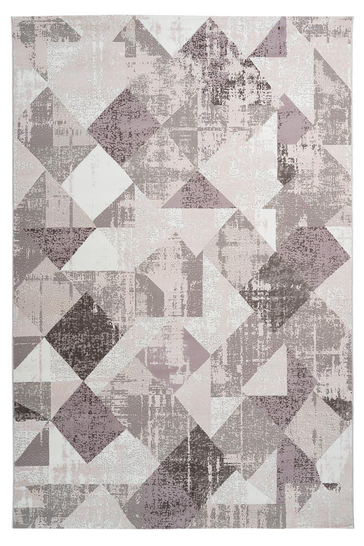 Tapis vintage polyester rectangle taupe rayé Monto